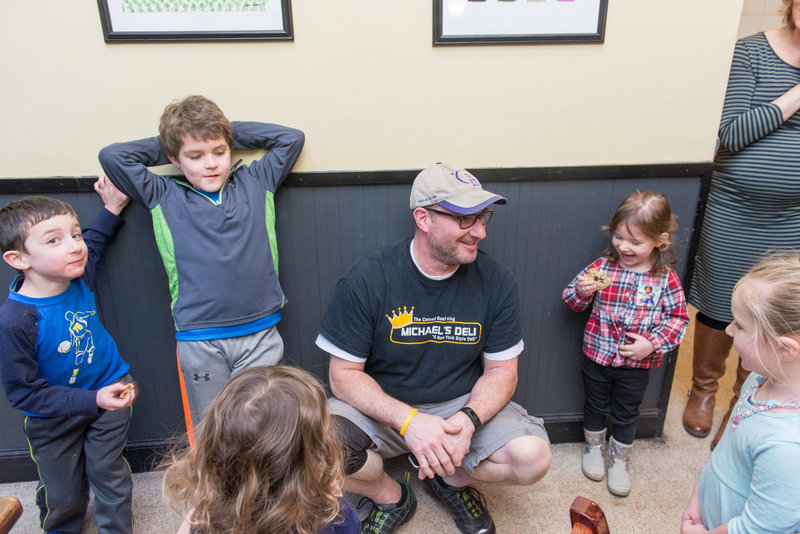 Michael's Deli owner Steven Peljovich with the kids (Photo credit: Jordyn Rozensky Photography)