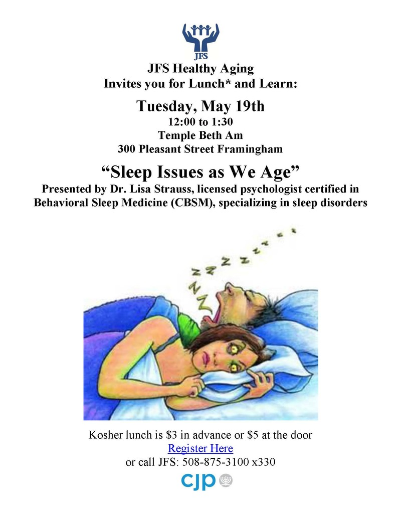 "Attend a Lunch and Learn: ""Sleep Issues as We Age"" – Tuesday May 19, Framingham"